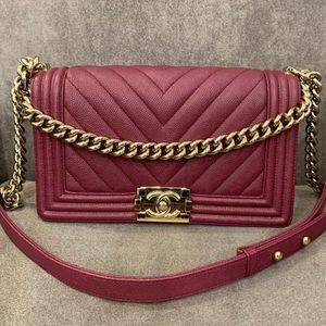 Chanel le boy medium gold burgundy